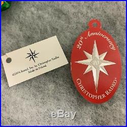 RARE Christopher Radko Blown Glass Holly Jean 20th Anniversary Ornament box Tags