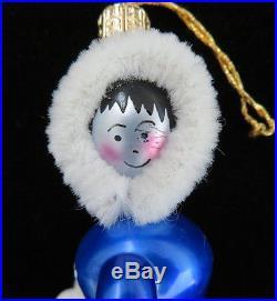 RARE Christopher Radko Italy Glass Ornament POLAR COASTER Polar Bear & Eskimo