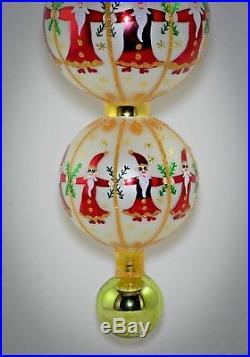 RARE Christopher Radko Ornament Triple Ball CIRCLE OF SANTA 01-1062-0