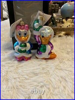 RARE Radko Disney 2000 JEWEL DONALD & DAISY SNOWBALL Donald Duck Ornament