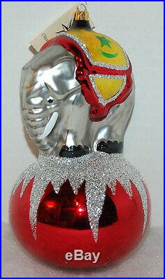 RET Vintage Radko JUMBO Christmas Ornament 90-086-2 ELEPHANT ON BALL