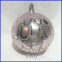 Radko 1988 LILAC SPARKLE Vintage Lilac Ball with Silver Glitter Ornament NEW