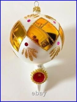 Radko 1993 Serenade Pink Drop Ball Reflector Ornament 93-157-0