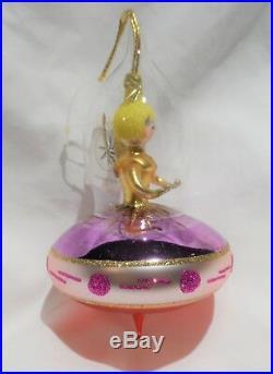 Radko 1995 ANGEL ON BOARD Vintage RARE Angel Spaceship UFO Ornament NEW withTag