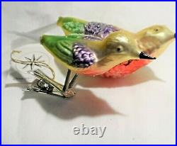 Radko 1995 BIRDS OF A FEATHER Vintage RAREl Two Birds Clip Ornament NEW withTag