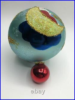 Radko 96 REACH FOR A STAR 96-209-0 Santa Moon Star Drop Ball Christmas Ornament
