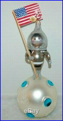 Radko ANOTHER SMALL STEP Christmas Ornament 1010548 RARE, ASTRONAUT ON MOON FLAG