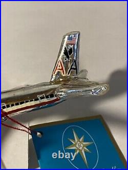 Radko Airplane American Airlines 777 Glass Ornament 2007 New With Tag