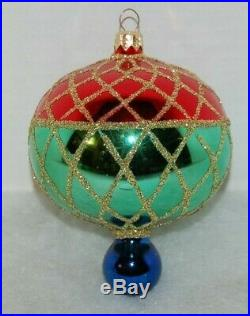 Radko CHRISTMAS HARLEQUIN Christmas Ornament 94-216-0 VINTAGE BALL W. DROP