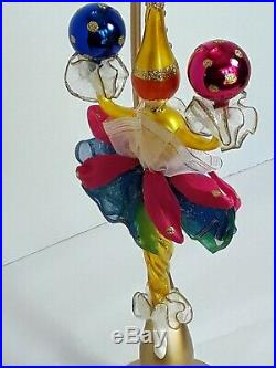 Radko CLOWN AROUND 96-047-0 Italian glass ornament 1996 lady tutu 10 icicle