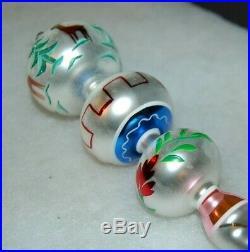 Radko DEER DROP Christmas Ornament 93-304-0 RARE, 3 BALLS W ICICLE DROP, SIGNED