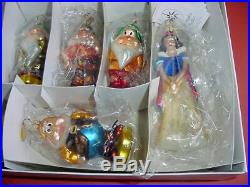 Radko Disney LE Petite Snow White Seven Dwarfs Glass Christmas Ornament Set