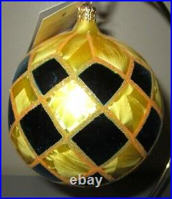 Radko HARLEQUIN HIGHLIGHTS 1010902 REFLECTOR Christmas Ornament New Blue Yellow