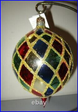 Radko HARLEQUIN Teardrop Christmas Ornament New NWT + Box