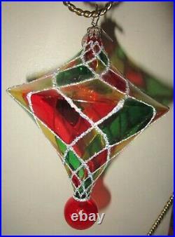 Radko Harlequin TIFFANY BRITE Stained Glass Christmas Ornament 1011626 +Box MINT