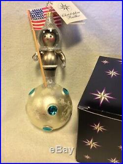 Radko Italian Blown Glass Ornament 03 Another Small Step. Astronaut Tag/Box