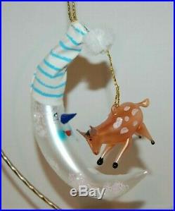 Radko JUMPIN' JERSEY Christmas Ornament 94-440-0 RARE MOON & COW, ITALIAN MADE