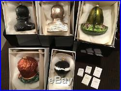Radko Lot of 5 Monster Ornaments Dracula, Mummy, Wolfman, BOF, Black Creature