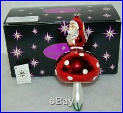Radko MUSHROOM SANTA Christmas Ornament 93-212-0 RARE, 2 SIDE SANTA FACE W BALL