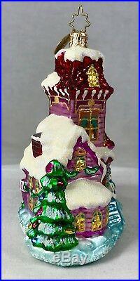 Radko Midnight Magic 3 pc Christmas Ornament House Santa Hanger 1010388 Poland