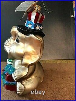 Radko Patriotic Ornament Elephant