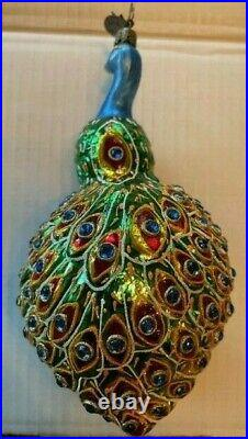 Radko Peacock Reflector Ornament 20th Anniversary In Living Color 1011581
