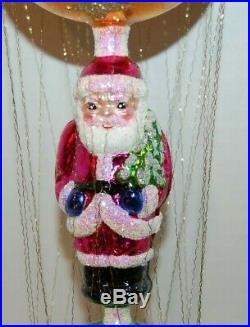 Radko SANTA FLOAT Christmas Ornament 1010579 RARE, SANTA BALL W REFLECTOR W WIRE