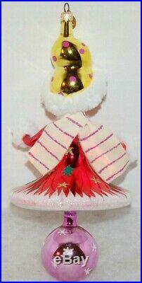 Radko SNOW GIRL Christmas Ornament 00-286-0 LARGE ITALIAN MADE W. REFLECTOR