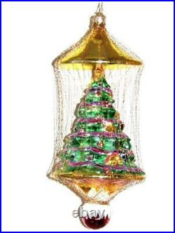 Radko Shimmer Green Tree Gilded Cage Tinsel Wire Glass Xmas Ornament