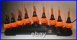 Radko Shiny Brite Halloween Pumpkin Candolier Bubble Lights Vintage Ornament Nib