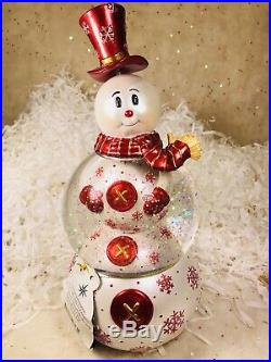 Radko Snowswirls Snow Globe Snowman 2011565 Retired 2008 NIB Ornament Musical