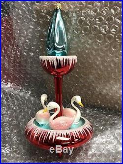 Radko Swan Fountain Italian 1995 Swan Carousel RARE Christopher RADKO Ornament