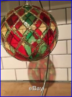 Radko Tiffany Bright Harlequin 1992 92-161-0 Clear Ball Ornament Retired