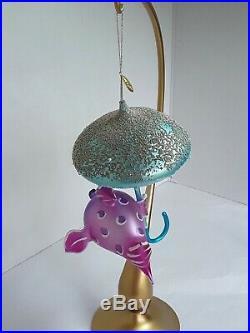 Radko UNDER THE WEATHER 01-0860-0 Italian glass Ornament umbrella Fish 7 signed