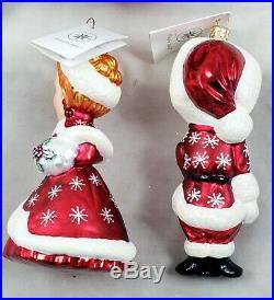 Radko White Christmas Movie Glass Ornaments Set Bing Crosby Rosemary Clooney