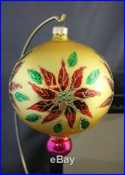 Radko Winter Blossom 1996 Ornament 96-284-0 Gold Poinsettia Ball Drop Gold Pink