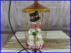 Radko snowman gilded cage gold 9 string RARE blown ornament glass xmas tree hol
