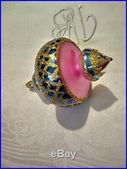 Rare 88-078-0 Christopher Radko Spin Top Blown Glass Christmas Ornament 4.5 Inch