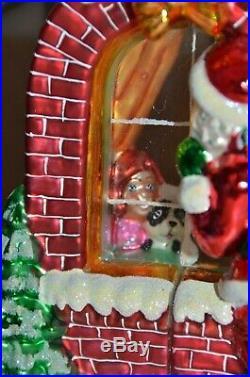 Rare Christopher Radko Claus Encounters 2 Sided Santa Window Christmas Ornament