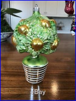 Rare Christopher Radko Grapefruit Tree in Pot Mercury Glass Christmas Ornament