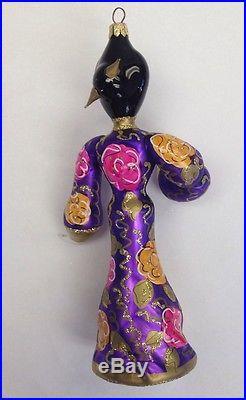 Rare Christopher Radko Oriental Geisha Girl Purple Robe 8 Ornament