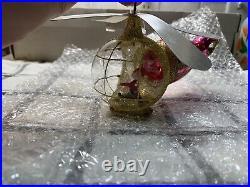 Rare Christopher Radko Santa Copter Italian Glass Christmas Ornament