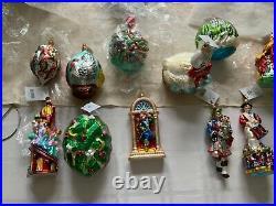 Rare Le Radko Twelve 12 Days Of Christmas Complete Blown Glass Ornament Set