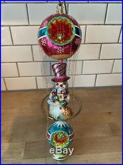 Rare Radko Mr Snow float Frosty Snowman Ornament BALL W REFLECTOR GOLD WIRE
