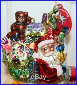 Rare Radko SANTA ROLLS IN Christopher's Favorite 2004 Christmas Ornament