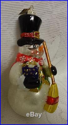 Retired Christopher Radko Mouth Blown Glass Snowman Christmas Ornament Box RARE