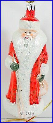 Retired Christopher Radko Red Russian Santa Christmas Ornament First Coloration
