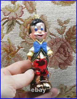Retired Disney Christopher Radko Jiminy & Pinocchio Christmas Holiday Ornament