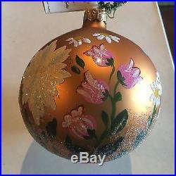 Set of 6 CHRISTOPHER RADKO ENGLISH GARDEN BALL GLASS ORNAMENTS
