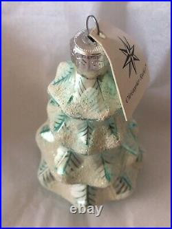 Signed 1992 Christopher Radko Glass Christmas Ornament Blue Frosted Tree
